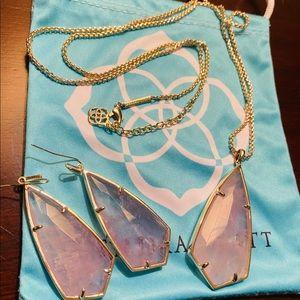 KENDRA SCOTT Amethyst Gold Necklace + Earrings
